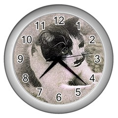 Cat Pet Art Abstract Vintage Wall Clocks (silver)