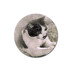 Cat Pet Art Abstract Vintage Magnet 3  (round)