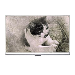 Cat Pet Art Abstract Vintage Business Card Holders