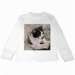 Cat Pet Art Abstract Vintage Kids Long Sleeve T Shirts