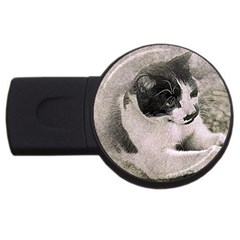 Cat Pet Art Abstract Vintage Usb Flash Drive Round (4 Gb)
