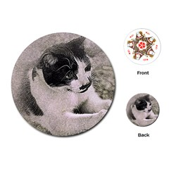 Cat Pet Art Abstract Vintage Playing Cards (round)