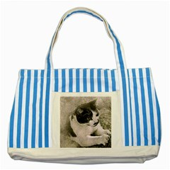 Cat Pet Art Abstract Vintage Striped Blue Tote Bag