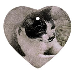 Cat Pet Art Abstract Vintage Heart Ornament (two Sides)