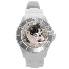 Cat Pet Art Abstract Vintage Round Plastic Sport Watch (l)