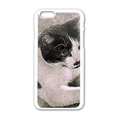 Cat Pet Art Abstract Vintage Apple Iphone 6/6s White Enamel Case