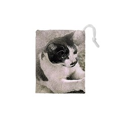 Cat Pet Art Abstract Vintage Drawstring Pouches (xs)