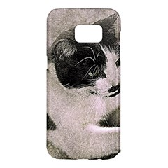 Cat Pet Art Abstract Vintage Samsung Galaxy S7 Edge Hardshell Case