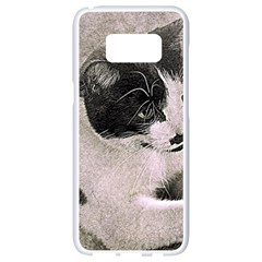 Cat Pet Art Abstract Vintage Samsung Galaxy S8 White Seamless Case