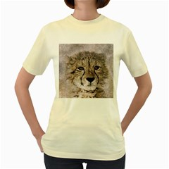 Leopard Art Abstract Vintage Baby Women s Yellow T Shirt