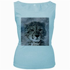 Leopard Art Abstract Vintage Baby Women s Baby Blue Tank Top