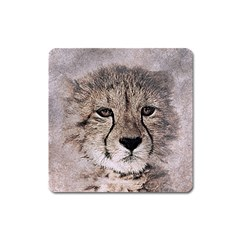 Leopard Art Abstract Vintage Baby Square Magnet