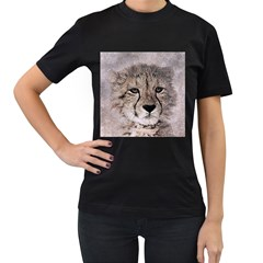 Leopard Art Abstract Vintage Baby Women s T Shirt (black) (two Sided)