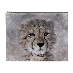 Leopard Art Abstract Vintage Baby Cosmetic Bag (xl)