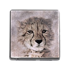 Leopard Art Abstract Vintage Baby Memory Card Reader (square)