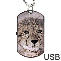 Leopard Art Abstract Vintage Baby Dog Tag Usb Flash (two Sides)