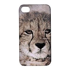 Leopard Art Abstract Vintage Baby Apple Iphone 4/4s Hardshell Case With Stand