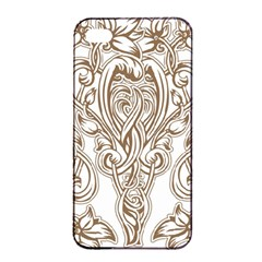 Beautiful Gold Floral Pattern Apple Iphone 4/4s Seamless Case (black)