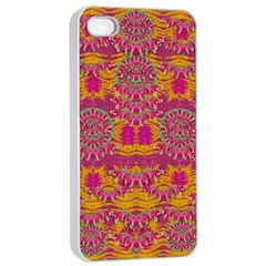 Fern Landscape In Harmony With Bleeding Hearts Fantasy Art Apple Iphone 4/4s Seamless Case (white)