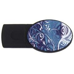 Mystic Blue Flower Usb Flash Drive Oval (4 Gb)