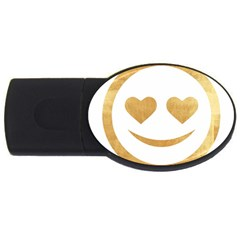 Gold Smiley Face Usb Flash Drive Oval (4 Gb)