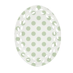 Green Dots Modern Pattern Paper Oval Filigree Ornament (two Sides)