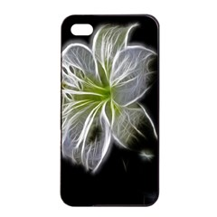 White Lily Flower Nature Beauty Apple Iphone 4/4s Seamless Case (black)