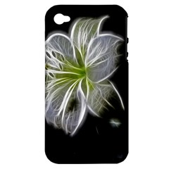 White Lily Flower Nature Beauty Apple Iphone 4/4s Hardshell Case (pc+silicone)
