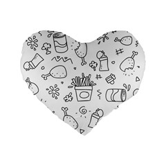 Set Chalk Out Scribble Collection Standard 16  Premium Flano Heart Shape Cushions