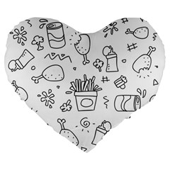 Set Chalk Out Scribble Collection Large 19  Premium Flano Heart Shape Cushions