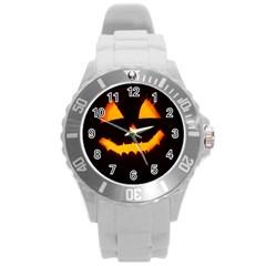 Pumpkin Helloween Face Autumn Round Plastic Sport Watch (l)