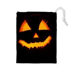 Pumpkin Helloween Face Autumn Drawstring Pouches (large)