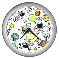 Sketch Set Cute Collection Child Wall Clocks (silver)