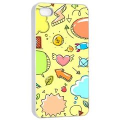 Cute Sketch Child Graphic Funny Apple Iphone 4/4s Seamless Case (white)