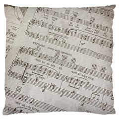 Sheet Music Paper Notes Antique Large Flano Cushion Case (one Side)