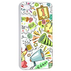 Doodle New Year Party Celebration Apple Iphone 4/4s Seamless Case (white)