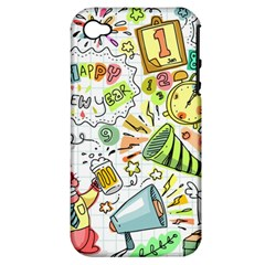 Doodle New Year Party Celebration Apple Iphone 4/4s Hardshell Case (pc+silicone)