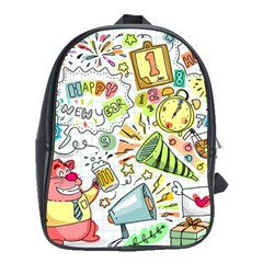 Doodle New Year Party Celebration School Bag (xl)