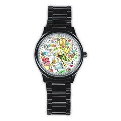 Doodle New Year Party Celebration Stainless Steel Round Watch