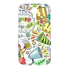 Doodle New Year Party Celebration Samsung Galaxy S4 I9500/i9505 Hardshell Case