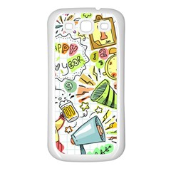 Doodle New Year Party Celebration Samsung Galaxy S3 Back Case (white)