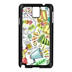 Doodle New Year Party Celebration Samsung Galaxy Note 3 N9005 Case (black)