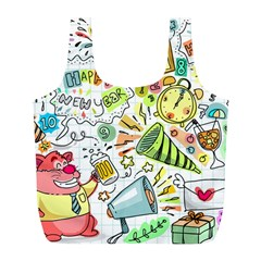 Doodle New Year Party Celebration Full Print Recycle Bags (l)