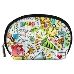 Doodle New Year Party Celebration Accessory Pouches (large)