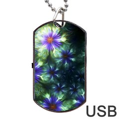 Fractal Painting Blue Floral Dog Tag Usb Flash (one Side)