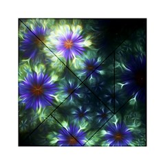 Fractal Painting Blue Floral Acrylic Tangram Puzzle (6  X 6 )