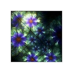Fractal Painting Blue Floral Acrylic Tangram Puzzle (4  X 4 )