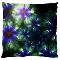 Fractal Painting Blue Floral Large Cushion Case (one Side)