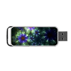 Fractal Painting Blue Floral Portable Usb Flash (two Sides)