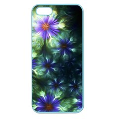Fractal Painting Blue Floral Apple Seamless Iphone 5 Case (color)